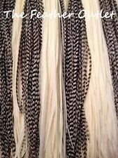 Lot 50 Feather Hair Extensions Bulk Black White Grizzly Natural Real Saddle Raw