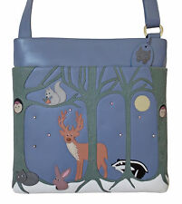 50% OFF LARGE CICCIA FOREST FRIENDS BLUE LEATHER SHOULDER BAG RRP £85