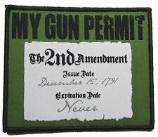 MY GUN PERMIT 2ND AMENDMENT RIGHT TO BEAR ARMS USA 2A FOREST MORALE VELCRO PATCH