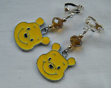 Handmade Disney Winnie The Pooh Bear clip on earrings silver plated enamel