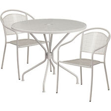 35.25'' Round Light Gray Indoor-Outdoor Patio Restaurant Table Set w/2 Chairs