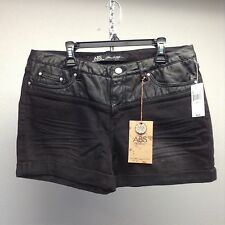 ABS Schwartz Anthropologie Distressed Black Cotton Denim & Leather Shorts NEW