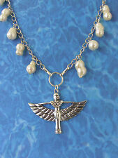 """Egyptian /Victorian Style antiqued SP BAROQUE PEARLS & ISIS  30-32""""Necklace"""