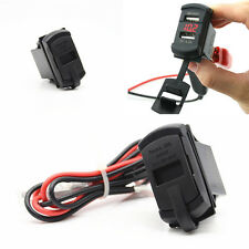 Car Boat 12V Dual Port USB Charger Socket Voltage Voltmeter Rocker Switch Panel