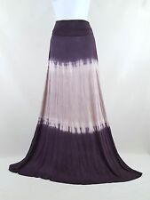 VENUS Purple Lilac Tie Dyed Jersey Knit Maxi Skirt Boho Hippie Lounge Skirt Sz M