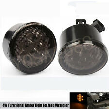 2pcs Turn Signal LED Recon Smoked Grille Amber Light For Jeep Wrangler JK 07-15