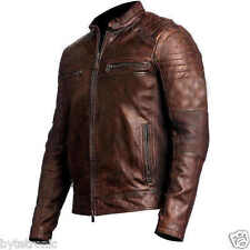 Mens Brown Cafe Racer Motorcycle Biker Vintage Distressed Leather Jacket