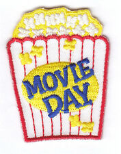 """MOVIE DAY"" PATCH - Iron On Embroidered Patch/Food,Entertainment,Show,Movies"