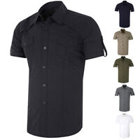 Mens Luxury Casual Formal Short Business T-Shirt Slim Fit Business Dress Shirts