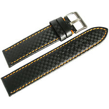 20mm Hadley-Roma MS847 Black Carbon Fiber Leather Orange Stitch Watch Band Strap