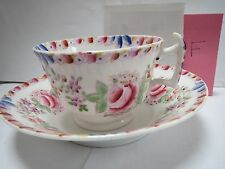 ALL OVER FLOWER TEACUP AND SAUCER - OLD FASHIONED SAUCER - F