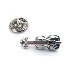 Silver Violin LAPEL PIN BADGE Music Instrument Fiddle Player Present GIFT BOX