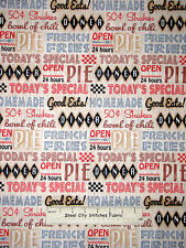 Diner Words Open 24 Hours Pie Fabric SPX Good Eats Diner #24908 Cotton Yard