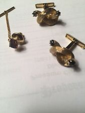 Group of 2 Gold Tone Tiger Eye Cuff Links & 1 Tie Tack with Garnet Faceted Glass