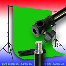 10X14 CHROMA KEY GREEN MUSLIN WITH LONG FOOTPRINT BACKDROP STAND KIT