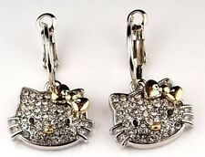 Hello Kitty Silver Gold Bow Swarovski Crystal Dangle Earrings Fashion Jewelry