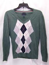 Tommy Hilfiger Men's V-Neck Green Sweater Argyle & Solid