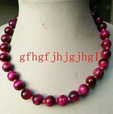 New natural 10mm Rose Red Tiger's Eye Gemstone Necklace 18''
