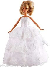 New Handmade Three Tier White Party Dress Clothes Outfits For Barbie Doll #1106