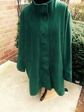NEW WOMAN WITHIN MICROFIBER FLEECE SWING COAT JACKET GREEN 2X