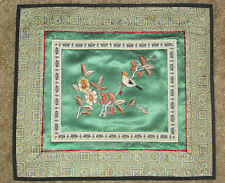 "FINE ANTIQUE CHINESE HAND EMBROIDERED Bird Panel~10"" x 11""~Green Silk~Smoke free"