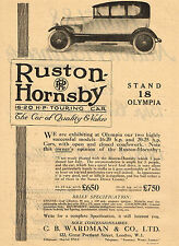 1920 Original Vintage RUSTON HORNSBY Touring Car Auto Automobile Art Print AD