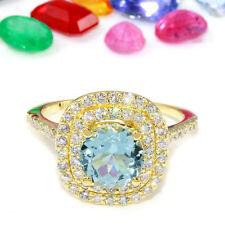2.05 Carat Natural Aquamarine 14K Solid Yellow Gold Diamond Ring