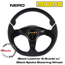 MOMO NERO 350mm Black Leather With Alcantara Insert Gloss/ Satin Steering Wheel