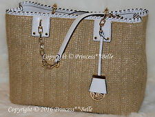 MICHAEL KORS Straw Rosalie Large EW Tote Shoulder Beach Bag Purse Natural White