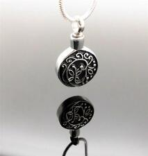 Floral Butterfly Black and Silver Ornate Cremation Urn Funeral Pendant Jewellery