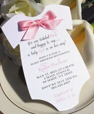 Baby Shower Invitation for Girl in Shape of Onesie with Pink Satin Bow!