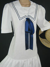LAURA ASHLEY VINTAGE 30's STYLE SUMMER WHITE FLAPPER SAILOR SEASIDE DRESS, 10