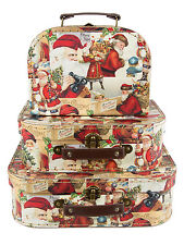 Mini Suitcases Santa Father Christmas Collage Decoration Set of 3 Retro Presents