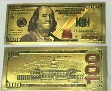 24K Pure  Colorized .999 GOLD US 100 Dollar Bill BANK NOTE $100 LOOK