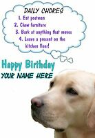 Golden Labrador Rules Birthday PIDS38  A5 Personalised Card Dad mum son Any name