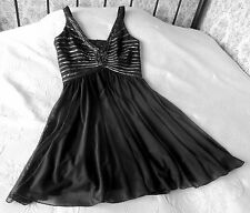 Black embellished mesh cocktail party dress SANDRA DARREN Size 10