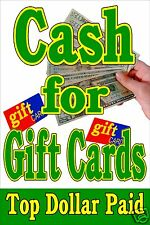 """Poster Sign Advertising  24""""X36"""" CASH for GIFT CARDS - Pawn Shop - Broker"""