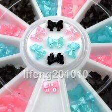 beauty nail art glitter decoration tool 3d bow tie wheel nail supplies pink blue