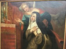 "A Stunning Large Flemish Church Painting ""Clare of Assisi"" circa 1700"