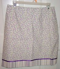 Etcetera Purple Pink Flowers Stripe Ribbon Trim 8 Straight Short Cotton Skirt