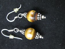 VINTAGE STERLING SILVER FINDINGS WITH TIGER'S EYE BEAD EARRINGS