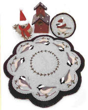 Prim Wool Felt Candle Mat Kit, Penny Rug Kit, CHEERFUL CHICKADEES Embroidery Kit