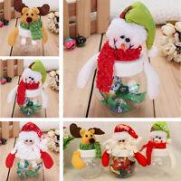 1pc Mini Santa Clear Plastic Candy Bag Gift Storage Bottle Holder Xmas Decor