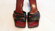 Womens Vintage Nine West Black and Red Cut Out Heels Size 6 EUC