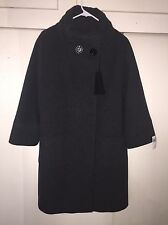 Cinzia Rocca Stand Collar Wool Blend Coat Charcoal NWT Size 14 Plus Nordstrom
