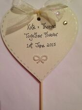 Wedding cake topper personalised handcrafted wooden heart  10cm heart