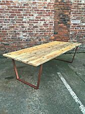 Reclaimed Industrial Chic 8-10 Seater Solid Wood & Copper Frame Dining Table