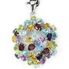 Silver 925  Rainbow Colour Faceted Genuine Natural Gemstone Floral Pendant