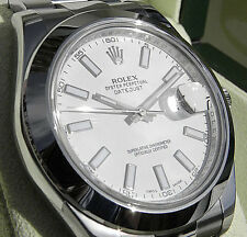 Rolex DATEJUST II 116300 Mens Stainless Steel Oyster Domed White Index Dial 41MM