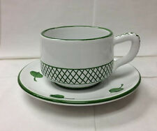 """DERUTA """"GIARDINO"""" CAPUCCINO CUP & SAUCER TOPIARY HAND PAINTED POTTERY ITALY"""